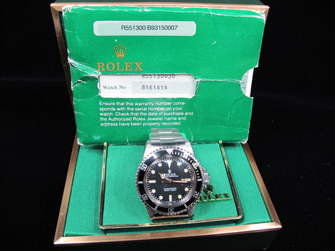 1985 Rolex SUBMARINER 5513 Maxi V Matt Dial with Box and Paper