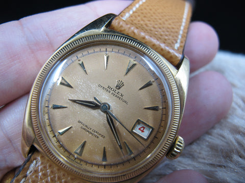1952 Rolex OYSTER PERPETUAL 6105 BIG Bubbleback Tropical DIal with Box and Paper