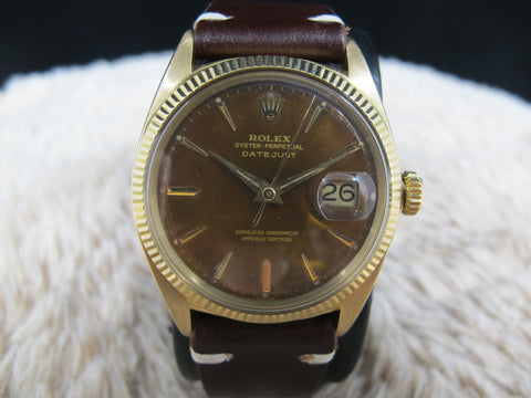 [1961] Rolex DATEJUST 1601 18K Yellow Gold with Tropical Brown Dial