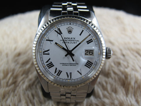 1972 Rolex DATEJUST 1601 SS ORIGINAL White Buckley Dial with Paper