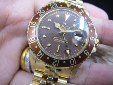 1977 Rolex GMT MASTER 18k YG 1675/8 Root Beer Nipple Dial with RSC Paper