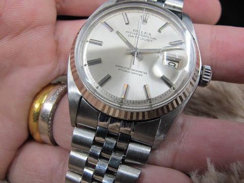 1970 Rolex DATEJUST 1601 SS ORIGINAL Silver Dial with Folded Jubilee