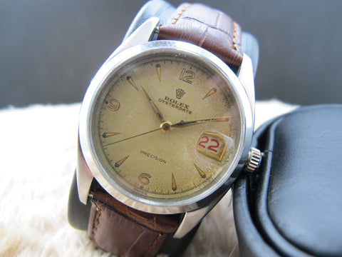 1957 Rolex OYSTER DATE 6494 Creamy Explorer Dial with Red/Black Date
