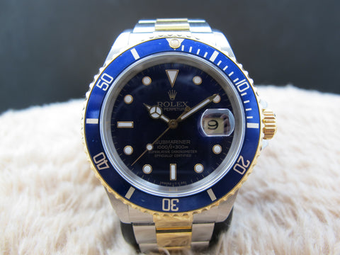 1990 Rolex SUBMARINER 16613 2-Tone PURPLE Dial with Blue Bezel