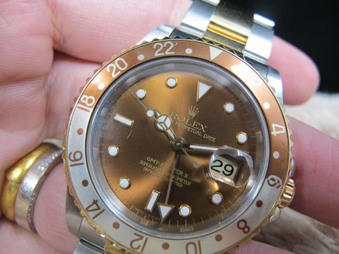 1997 Rolex GMT MASTER 2 16713 2-Tone with Root Beer T25 Dial