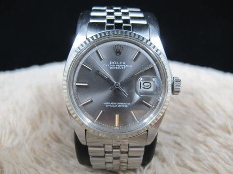 1972 Rolex DATEJUST 1601 SS ORIGINAL Grey Dial with Folded Jubilee