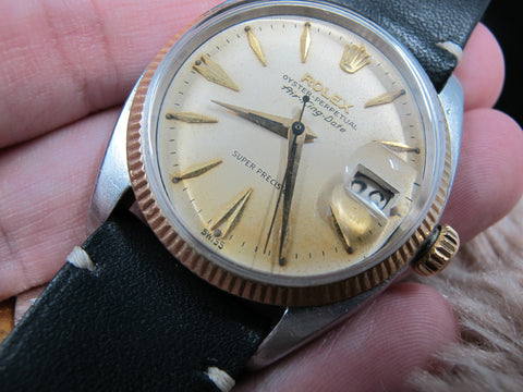 1960 Rolex AIR KING EXPLORER DATE 5701 2-Tone Original Tropical Dial