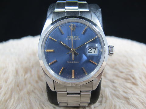 1969 Rolex OYSTER DATE 6694 Original Glossy Blue Dial with Paper