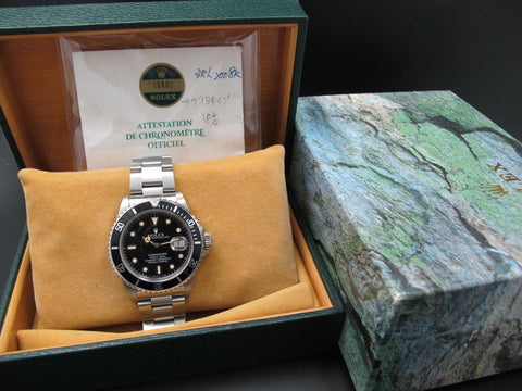 1985 Rolex SUBMARINER 16800 Tropical Dial with Box and Paper