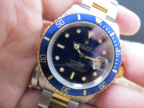 1992 Rolex SUBMARINER 16613 2-Tone Purple Dial with Box and Paper