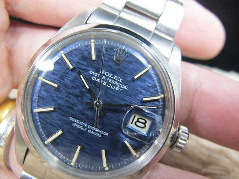 1969 Rolex DATEJUST 1600 SS ORIGINAL Blue Texture Dial with Folded Oyster Band