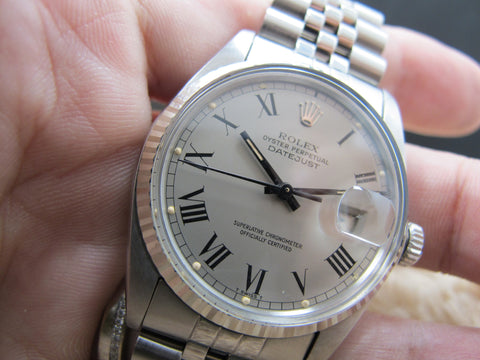 1980 Rolex DATEJUST 16014 SS Original Grey Buckley Dial Full Set