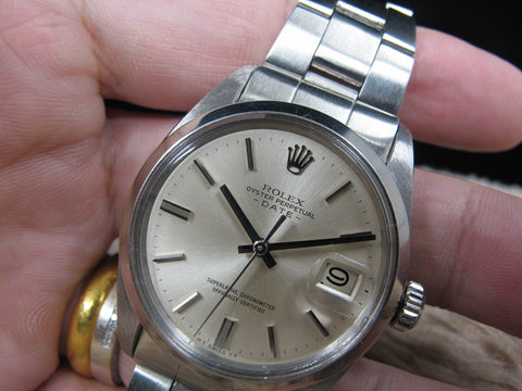 1967 Rolex OYSTER DATE 1500 Original Silver (Sigma) No Lume Dial with Oyster Band