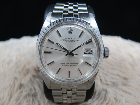 1974 Rolex DATEJUST 1603 SS ORIGINAL Silver SIGMA Dial with Folded Jubilee