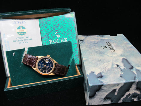 "1981 Rolex DATEJUST 16018 SS Original Navy Blue ""Boiler Gauge"" Dial with Paper"