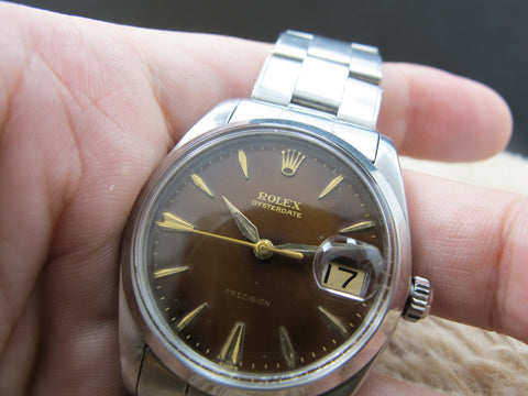 1961 Rolex OYSTER DATE 6694 Original Gilt Tropical Chocolate Dial