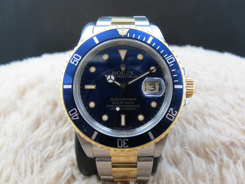 1987 Rolex SUBMARINER 16803 2-Tone Purple Dial with Blue Bezel