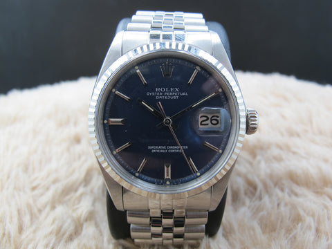 1976 Rolex DATEJUST 1601 SS Original Matte Blue Dial with Paper