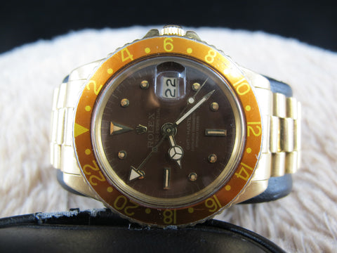 1969 Rolex GMT MASTER 18k YG 1675/8 Glossy Root Beer Nipple Dial