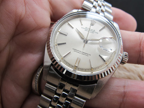 "1963 Rolex DATEJUST 1601 SS ORIGINAL Silver ""SWISS"" Dial with Leaf Hands"