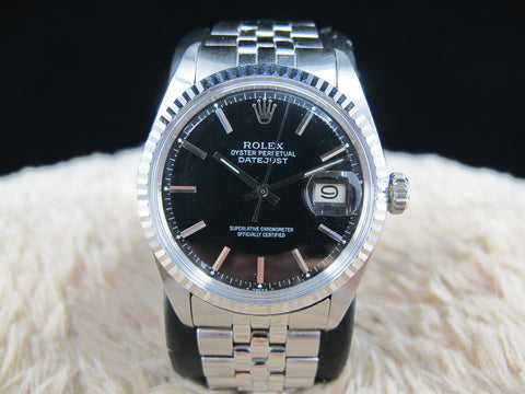 1972 Rolex DATEJUST 1601 SS Glossy Black Dial with Folded Jubilee
