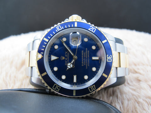 2002 Rolex SUBMARINER 16613 2-Tone Blue Dial with Box and Paper