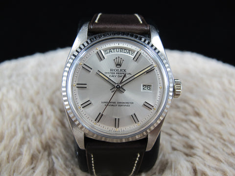 1973 Rolex DAY-DATE 1803 18K White Gold with Original Silver Wide Boy SIGMA Dial
