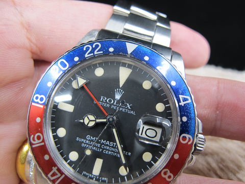 1978 Rolex GMT MASTER 1675 Mark 5 Maxi Dial with Folded Oyster Band