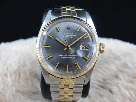 [1975] Rolex DATEJUST 1601 2-Tone with Original Grey Wide Boy Dial and Paper