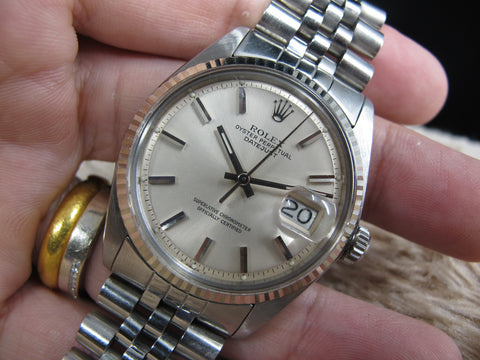 1974 Rolex DATEJUST 1601 SS ORIGINAL Silver Dial with Solid Jubilee