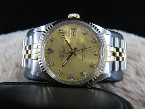 [1977] Rolex DATEJUST 16013 2-Tone Original Champagne Diamond Dial