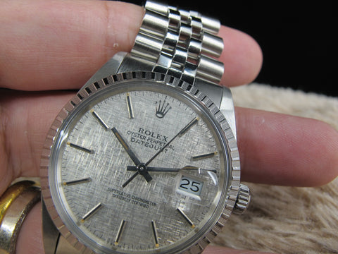 1987 Rolex DATEJUST 16030 Stainless Steel Original Silver Texture Dial