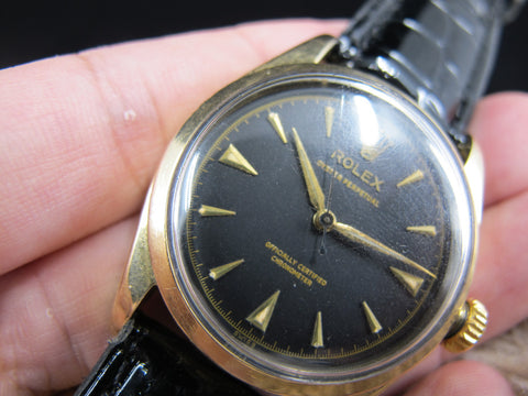 1955 Rolex OYSTER PERPETUAL 6334 Bubbleback Gold Shell with Gilt Dial