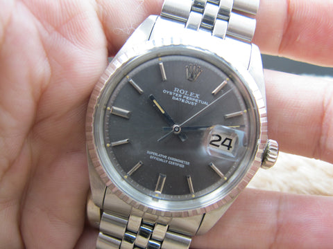 1970 Rolex DATEJUST 1603 SS ORIGINAL Grey Dial with Folded Jubilee
