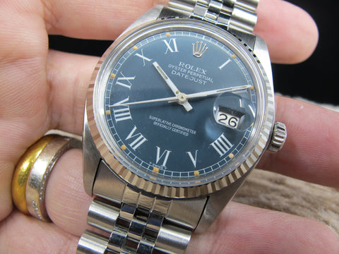1979 Rolex DATEJUST 16014 SS Original Blue Buckley Dial with Paper
