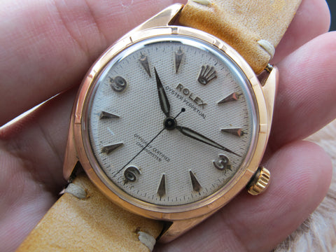 [1952] Rolex SEMI-BUBBLEBACK 6085 18K Rose Gold with Honeycomb Dial