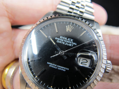 1984 Rolex DATEJUST 16030 SS Original Glossy Black Dial with Paper