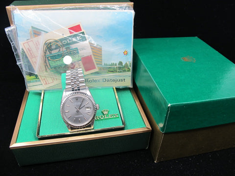 [1974] Rolex DATEJUST 1603 SS ORIGINAL Grey (No Lume) Dial with Box and Paper