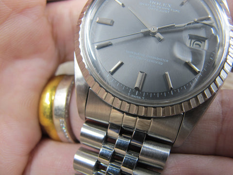 1974 Rolex DATEJUST 1603 SS ORIGINAL Grey (No Lume) Dial with Box and Paper