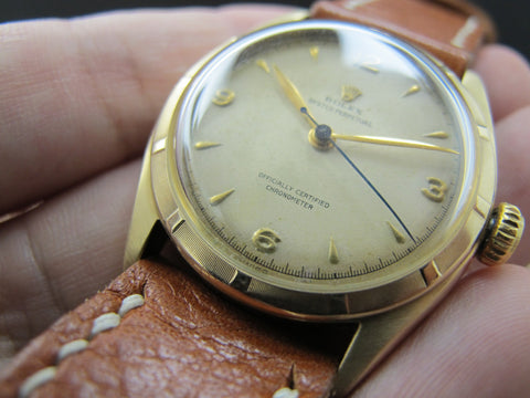 1952 Rolex SEMI BUBBLEBACK 6085 14K Yellow Gold with Creamy Explorer Dial