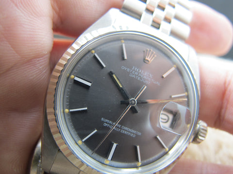 1972 Rolex DATEJUST 1601 SS ORIGINAL Glossy Grey Dial with Box and Paper