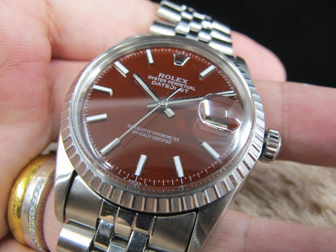 "1969 Rolex DATEJUST 1603 SS with Glossy ""Stella"" Oxblood Dial"