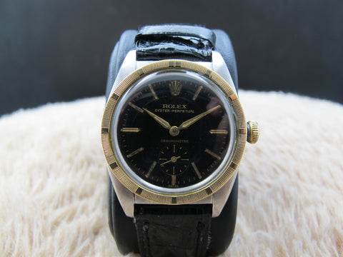 1948 Rolex BUBBLEBACK 5015 with Original Black Gilt Dial and Sub-Seconds
