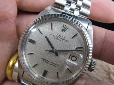 1969 Rolex DATEJUST 1601 SS ORIGINAL Silver Linen Dial with Folded Jubilee