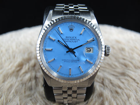 "1970 Rolex DATEJUST 1601 SS with Glossy ""Stella"" Sky Blue Dial"