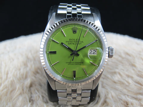 "1962 Rolex DATEJUST 1601 SS with Glossy ""Stella"" Green Dial"