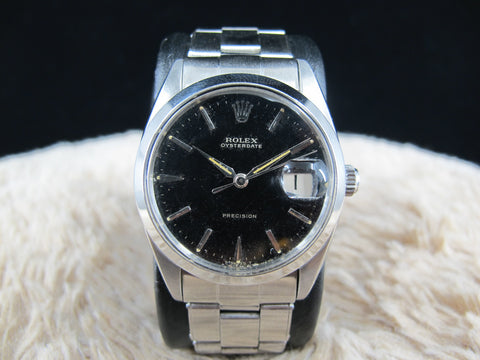 1967 1966 Rolex OYSTER DATE 6694 Original Glossy Gilt Dial with Rivet Bracelet