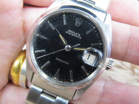 [1967] 1966 Rolex OYSTER DATE 6694 Original Glossy Gilt Dial with Rivet Bracelet
