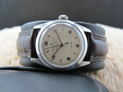 "[1945] Rolex OYSTER ROYAL 4220 Creamy Dial Double Signed ""Bucherer's"""