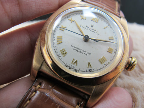 1947 Rolex BUBBLEBACK 3131 14K Pink Gold with Raised Roman Numerals